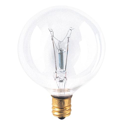 Bulbrite 25G16CL2 25 Watt Incandescent G16.5 Globe, Candelabra Base, Clear